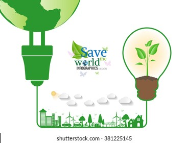 Energy saving green bulbs concept .save world vector illustration.