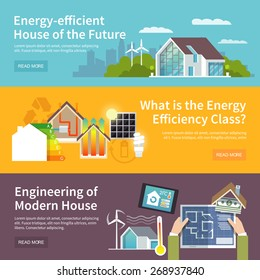 Energy saving house horizontal banner set with temperature control system elements isolated vector illustration