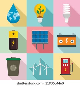 Energy saving icon set. Flat set of energy saving vector icons for web design