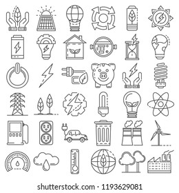 Energy saving icon set. Outline set of energy saving vector icons for web design isolated on white background