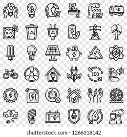 Energy saving icon set. Outline set of energy saving vector icons for web design