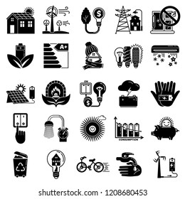 Energy saving icon set. Simple set of energy saving vector icons for web design on white background