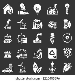 Energy saving icon set. Simple set of energy saving vector icons for web design on gray background