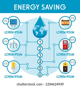 Energy saving infographic. Flat illustration of energy saving vector infographic for web design