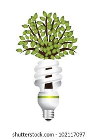 Energy saving light bulb creative vector