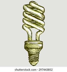 Energy saving light bulb. Vector Image