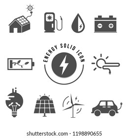 Energy saving solid icon set simple vector electric symbol light icons simple power solar panels battery energy efficiency business black bulb plug wind turbine gasoline solar cell plug bulb car sun