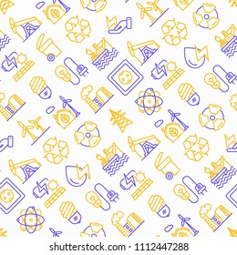 Energy seamless pattern with thin line icons: factory, oil platform, hydropower, wind energy, power socket, radioactivity, garbage, oil rig, recycling. Vector illustration.