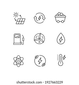 Energy simple thin line icon set vector illustration. Solar battery, mining cart, fuel station, water energy, thermometer, atom, windmill, renewable energy.