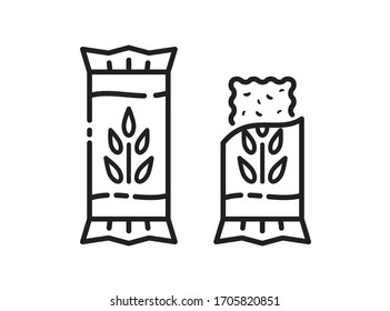 Energy snack icon. Organic cereal sweets. Protein bar in the vector linear style. Simple illustration in flat style.