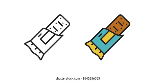 Energy snack icon. Organic sweets. Protein bar in the vector linear style. Simple illustration in flat style.