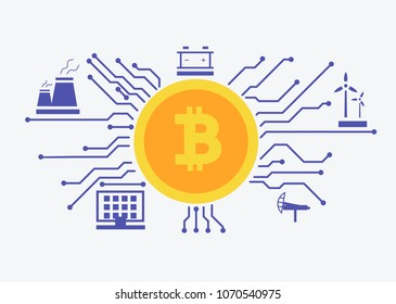 energy sources design for maining bitcoin. Microchip concept as infographic. Flat illustration style