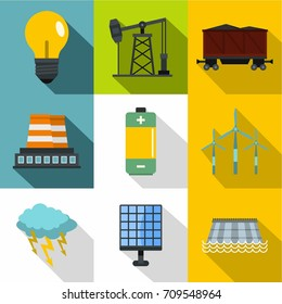 Energy sources icon set. Flat style set of 9 energy sources vector icons for web design
