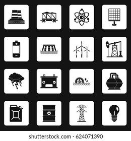 Energy sources icons set in white squares on black background simple style vector illustration