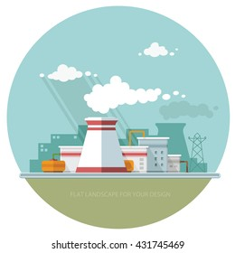 Energy station. The nuclear power plant on the background of the city. Set of elements for construction of urban and village landscapes. Vector flat illustration