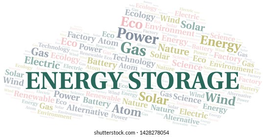 Energy Storage word cloud. Wordcloud made with text only.