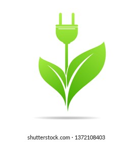 Energy sveing  leaves and electric plugs design