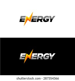 Energy text font dynamic logo with lightning instead of N letter.