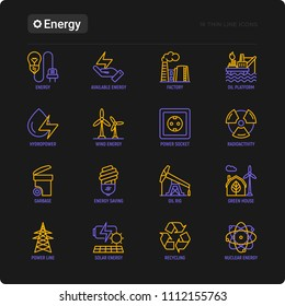 Energy thin line icon: factory, oil platform, hydropower, wind energy, power socket, radioactivity, garbage, oil rig, green house, solar energe, recycling. Modern vector illustration for black theme.