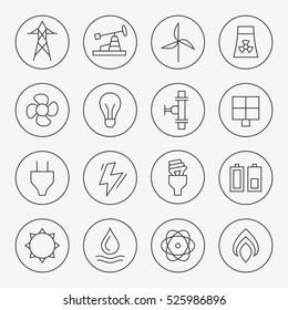 Energy thin line icon set
