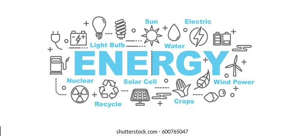 energy vector banner design concept, flat style with thin line art icons on white background