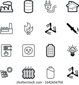 energy vector icon set such as: storage, cargo, panel, danger, container, firewood, diesel, radiator, panels, wood, manufacture, winter, outlet, conservation, insert, bonfire, glass, work