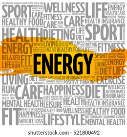 ENERGY word cloud collage, fitness, sport, health concept