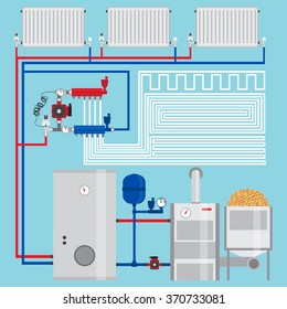 Energy-saving heating system.  Pellet boiler, heating systems with wood. Manifold with Pump. Green energy. Vector.