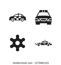 enforcement icon. 4 enforcement vector icons set. sheriff and police car icons for web and design about enforcement theme