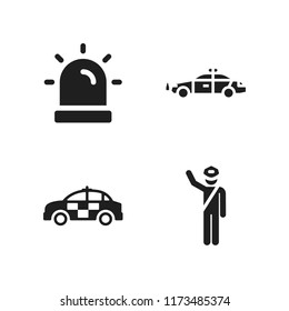 enforcement icon. 4 enforcement vector icons set. police car, siren and police icons for web and design about enforcement theme
