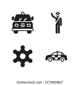 enforcement icon. 4 enforcement vector icons set. police, sheriff and police car icons for web and design about enforcement theme
