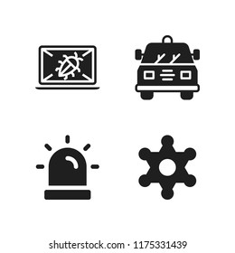 enforcement icon. 4 enforcement vector icons set. crime, sheriff and siren icons for web and design about enforcement theme