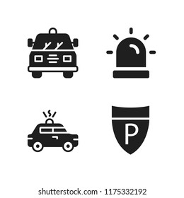 enforcement icon. 4 enforcement vector icons set. police sign, siren and police car icons for web and design about enforcement theme
