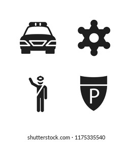 enforcement icon. 4 enforcement vector icons set. police sign, sheriff and police icons for web and design about enforcement theme