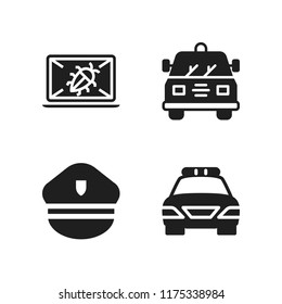 enforcement icon. 4 enforcement vector icons set. police hat, crime and police car icons for web and design about enforcement theme