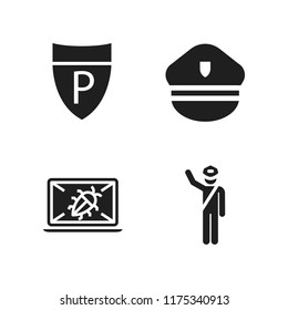 enforcement icon. 4 enforcement vector icons set. police sign, police and crime icons for web and design about enforcement theme