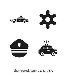 enforcement icon. 4 enforcement vector icons set. police hat, police car and sheriff icons for web and design about enforcement theme