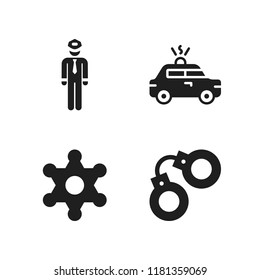 enforcement icon. 4 enforcement vector icons set. handcuffs, police and sheriff icons for web and design about enforcement theme