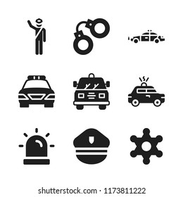 enforcement icon. 9 enforcement vector icons set. siren, police car and sheriff icons for web and design about enforcement theme