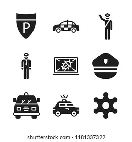 enforcement icon. 9 enforcement vector icons set. crime, sheriff and police hat icons for web and design about enforcement theme