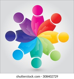 engaged employee icon harmony together, family joining abstract community vector illustration