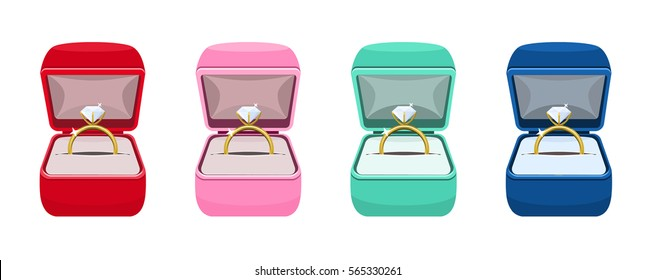 Engagement Diamond Golden Rings in Red, Pink, Green and Blue Ring Boxes Set