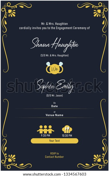 Engagement Invitation Card Stock Vector Royalty Free