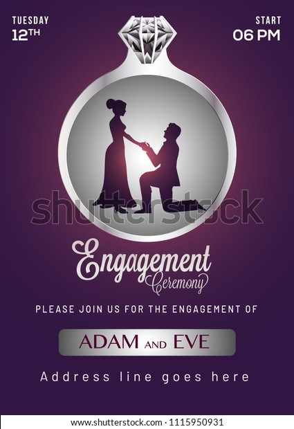 Engagement Invitation Card Design Stock Vector Royalty Free
