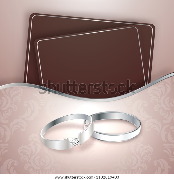Engagement Invitation Card Design Rings Stock Vector