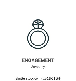 Engagement outline vector icon. Thin line black engagement icon, flat vector simple element illustration from editable jewelry concept isolated stroke on white background