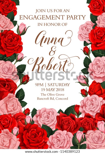 Engagement Party Invitation Card Design Roses Stock Vector