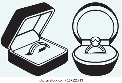 Engagement ring in box isolated on blue background
