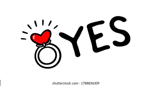 """Engagement ring vector illustration. Love and wedding theme. Valentine's day and hen-party Icon. She said """"Yes!"""""""