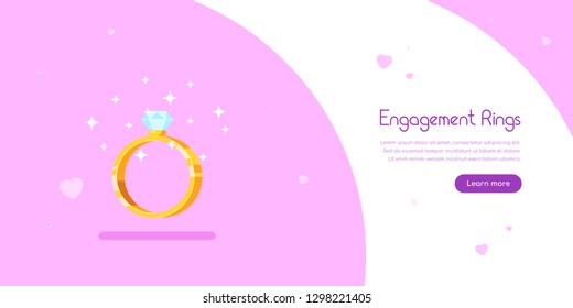 Engagement rings banner design. Golden engagement ring with diamond. Wedding proposal and love concept. Flat style vector illustration.
